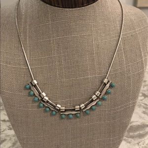 Silver tone & Turquoise Necklace